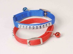 Cat Collar, Nylon Snag-Proof Safety Cat Collar with Bling Bling Rhinestone and Bell-3/8""