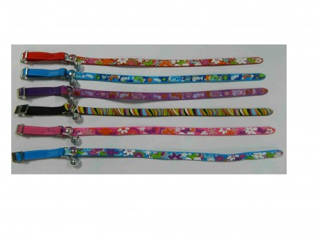 Cat Collar, Soft Rubber or Vinyl Patterned Cat Collars with Bell