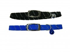"""Cat Collar , Safety Stretch Reflective Cat Collars with Bell-3/8"""""""